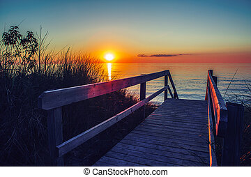 evening sunset landscape at Canadian Ontario lake Huron in...