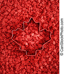Canada Day maple leaf red candies - Vibrant red colorful...