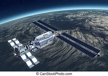 Telecommunication Satellite flying over Earth with mirror...