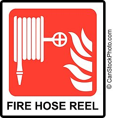 Vector Fire hose reel sign Informational sticker for public...