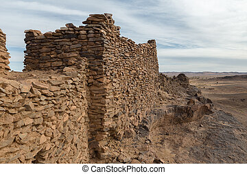 ruins of the ancient city in Sahara desert.