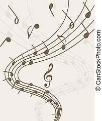 Extravaganza of music Stave and notes on light background...