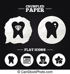 Dental care icons Caries tooth and implant - Crumpled paper...