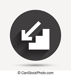 Downstairs icon Down arrow sign Circle flat button with...