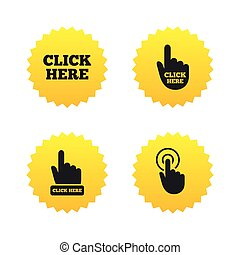 Click here signs. Hand press icons.