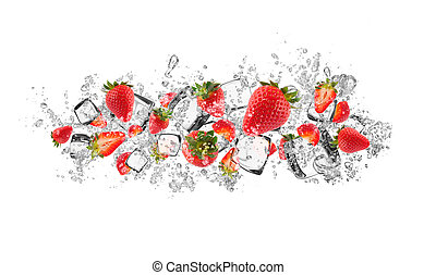 Strawberries in water splash on white background -...