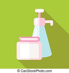 Body care product icon, flat style - Body care product icon...