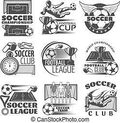 Soccer Black White Emblems - Soccer black white emblems of...