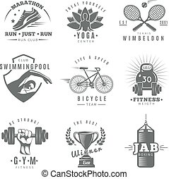 Fitness Gym Label Set - Gray isolated fitness gym label set...