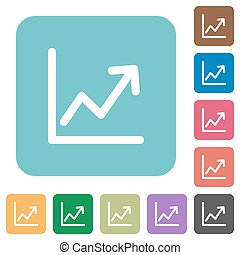 Flat line graph icons on rounded square color backgrounds