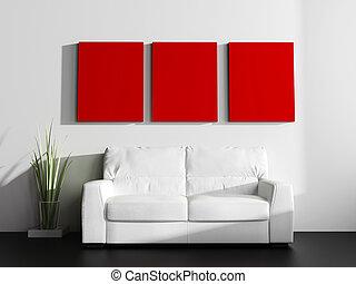blanco, sofá, en, moderno, interior