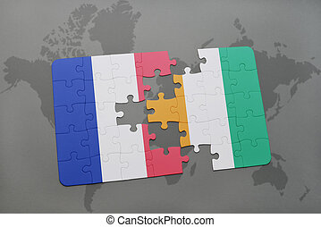 puzzle with the national flag of france and cote divoire on...