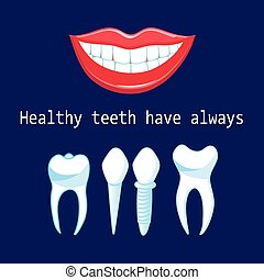 Vector healthy teeth and implants - Graphic advertising...