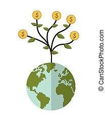 earth globe money plant icon