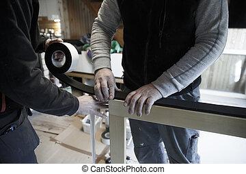 Trabalhadores, Preparar, Para, instalar, Novo, madeira,...