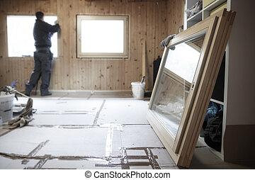 madeira, Novo, trabalhador, instalar, janelas