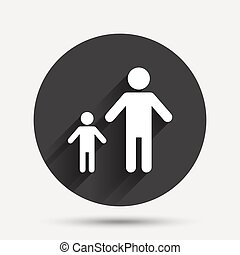 One-parent family with one child sign icon Father with son...