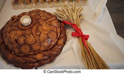 Traditional tasty ukrainian wedding bread loaf at the...