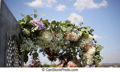 Wedding Flower Arch Decoration. Wedding arch decorated with pink and white flowers