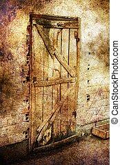 Old door grunge concept