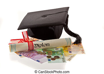 Mortar Board and the euro. Education costs in Europe.