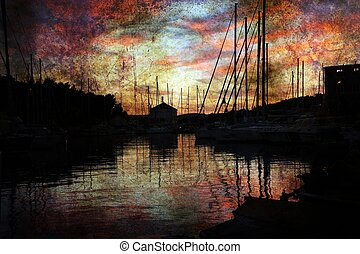 Marina on sunset grunge background