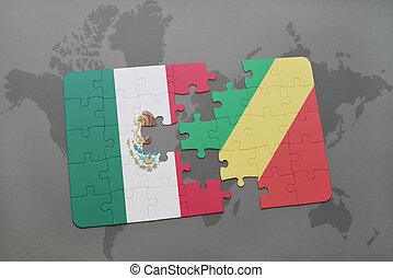 puzzle with the national flag of mexico and republic of the...