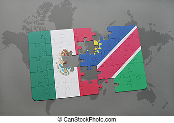 puzzle with the national flag of mexico and namibia on a...