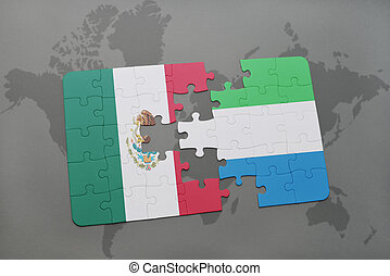 puzzle with the national flag of mexico and sierra leone on...