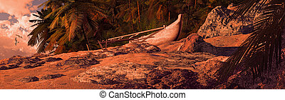 Outrigger Canoe On Tropical Coast - Outrigger canoe beached...