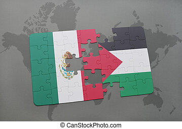 puzzle with the national flag of mexico and palestine on a...