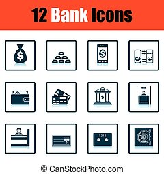 Set of bank icons. Shadow reflection design. Vector...