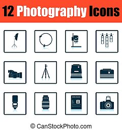 Photography icon set. Shadow reflection design. Vector...