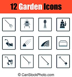 Set of gardening icons. Shadow reflection design. Vector...