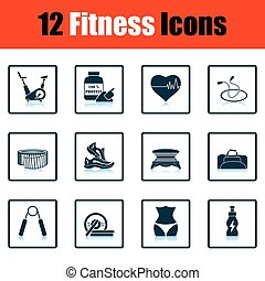 Fitness icon set Shadow reflection design Vector...
