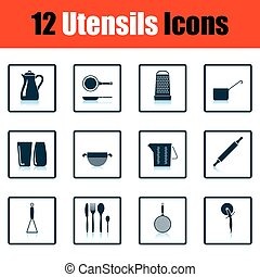 Utensils icon set Shadow reflection design Vector...