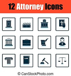 Set of attorney icons Shadow reflection design Vector...