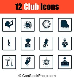 Set of twelve Night club icons