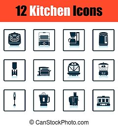 Kitchen icon set Shadow reflection design Vector...