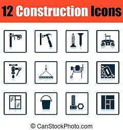 Construction icon set. Shadow reflection design. Vector...