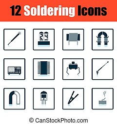 Set of soldering icons - Set of twelve soldering icons...
