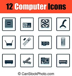 Set of computer icons. Shadow reflection design. Vector...
