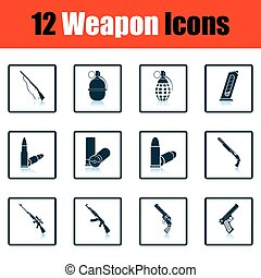 Set of twelve weapon icons. Shadow reflection design. Vector...