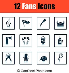 Set of soccer fans icons Shadow reflection design Vector...