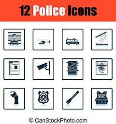 Set of police icons Shadow reflection design Vector...