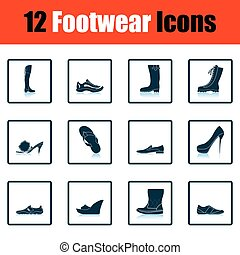 Set of footwear icons Shadow reflection design Vector...
