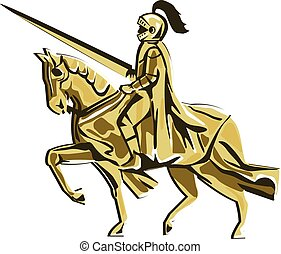 Knight Riding Steed Lance Isolated Retro - Illustration of...