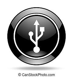 usb black glossy icon