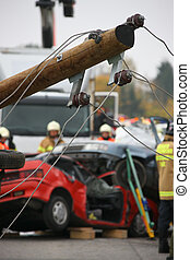 Accident - Exercise of rescue and fire services in accident...