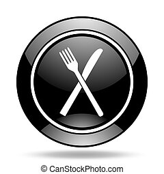 restaurant black glossy icon